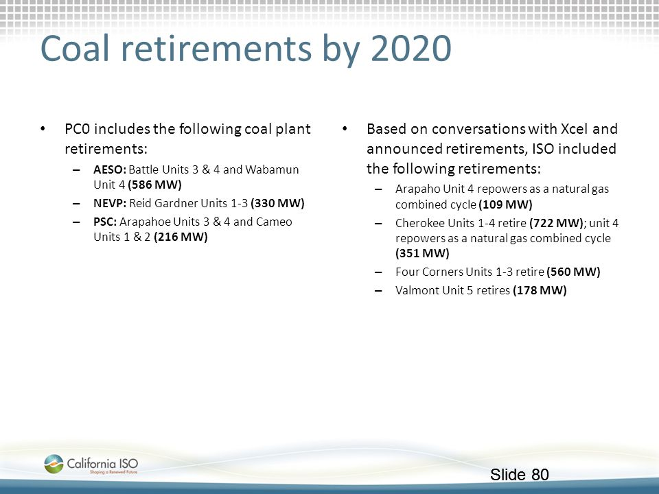 Coal retirements by 2020 PC0 includes the following coal plant retirements: AESO: Battle Units 3 & 4 and Wabamun Unit 4 (586 MW)
