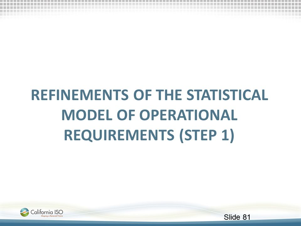 Refinements of the Statistical model of operational requirements (STEP 1)