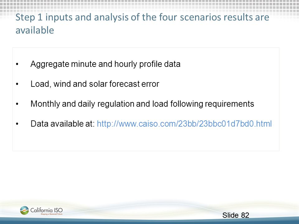 Step 1 inputs and analysis of the four scenarios results are available