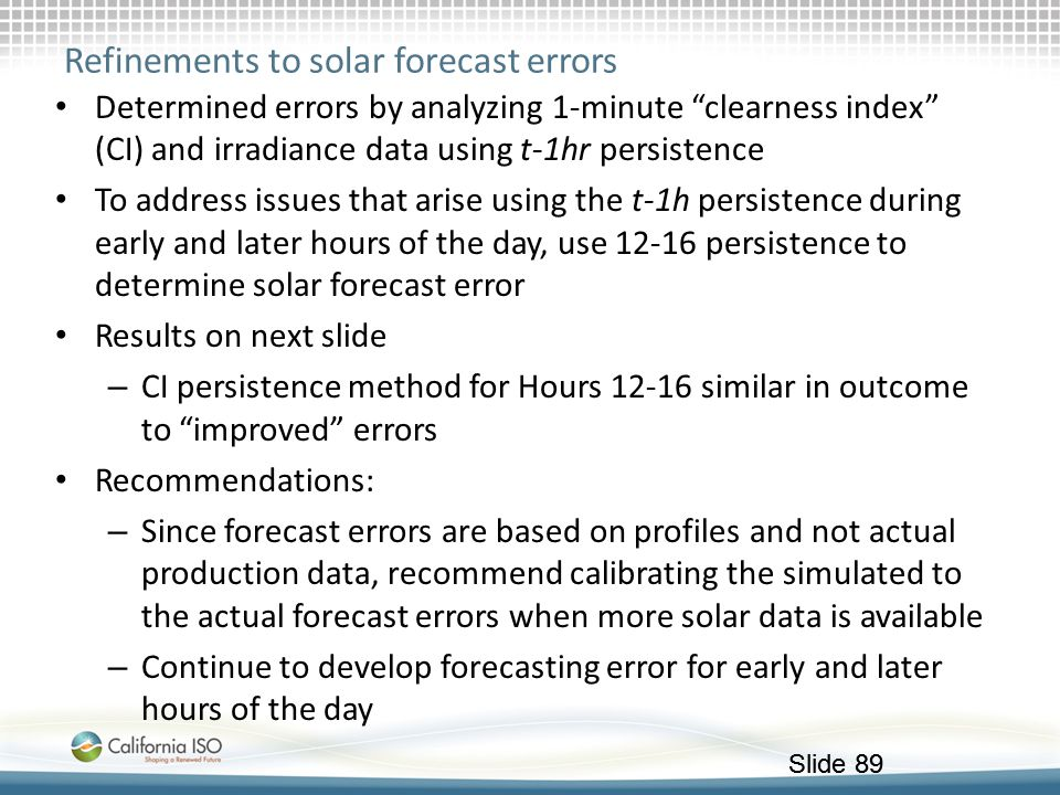Refinements to solar forecast errors