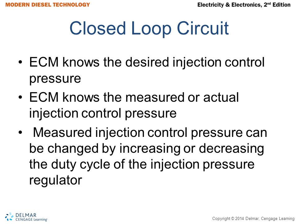 Closed Loop Circuit ECM knows the desired injection control pressure