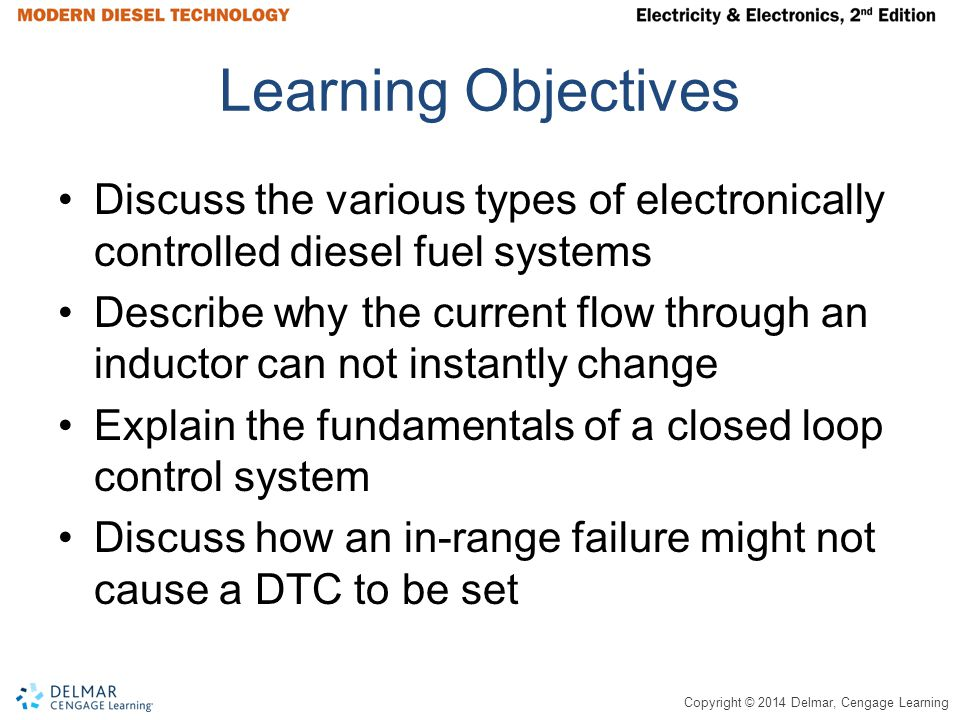 Learning Objectives Discuss the various types of electronically controlled diesel fuel systems.