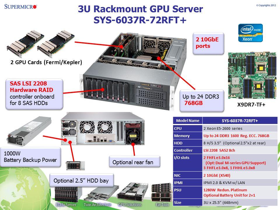 3U Rackmount GPU Server SYS-6037R-72RFT+