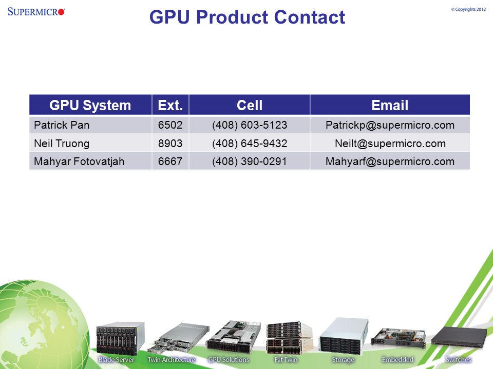 GPU Product Contact GPU System Ext. Cell Email Patrick Pan 6502