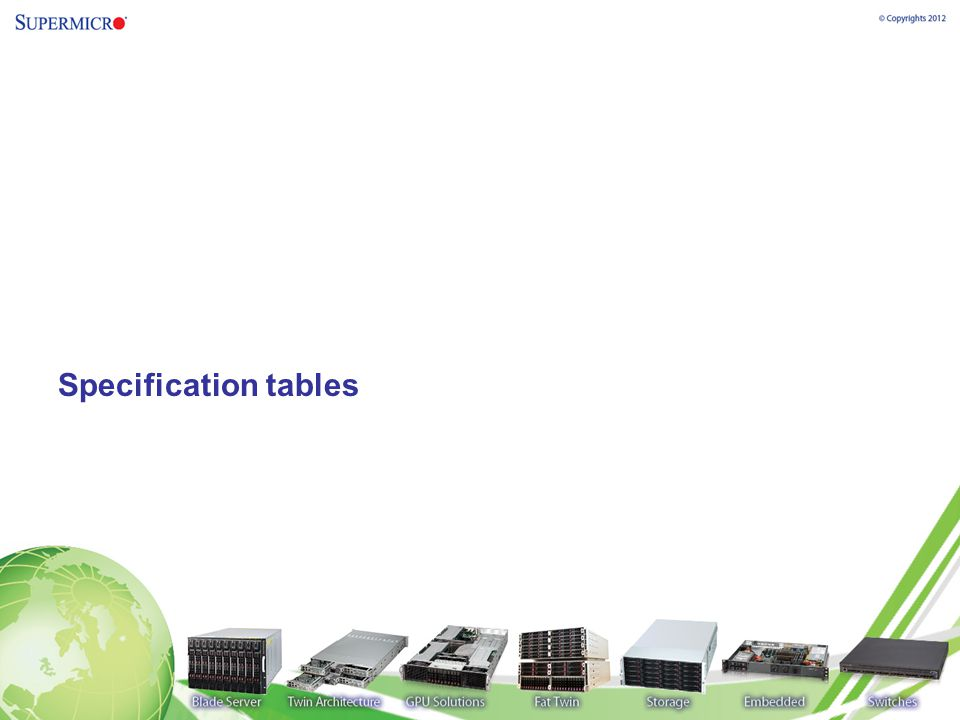 Specification tables
