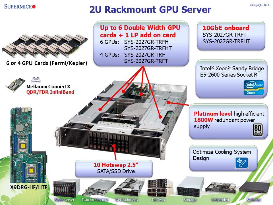 2U Rackmount GPU Server Up to 6 Double Width GPU cards + 1 LP add on card. 6 GPUs: SYS-2027GR-TRFH.