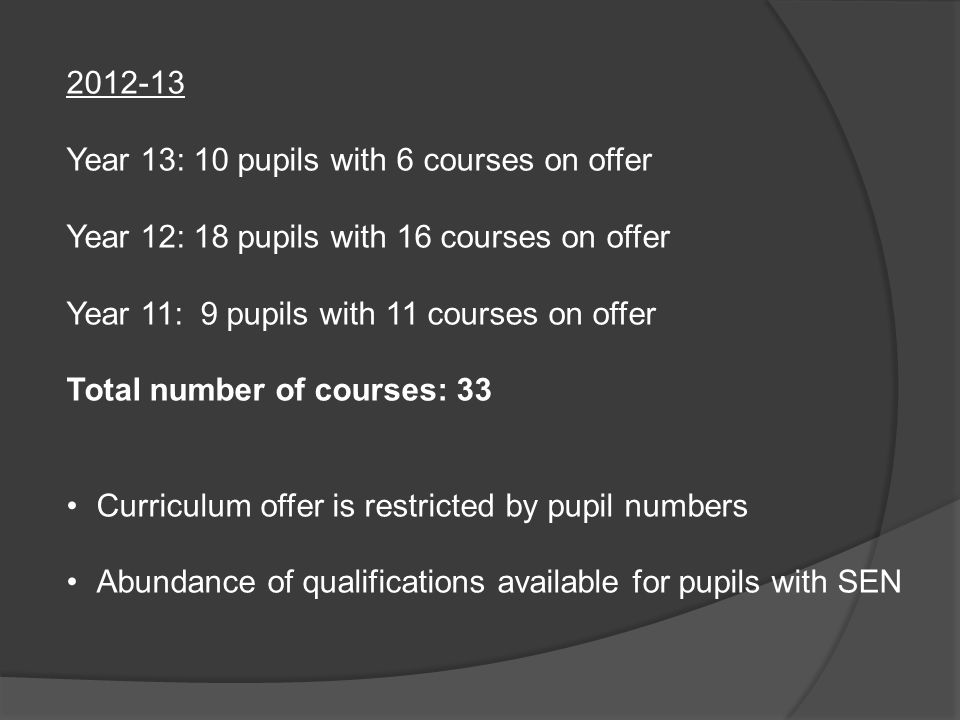 2012-13 Year 13: 10 pupils with 6 courses on offer. Year 12: 18 pupils with 16 courses on offer. Year 11: 9 pupils with 11 courses on offer.