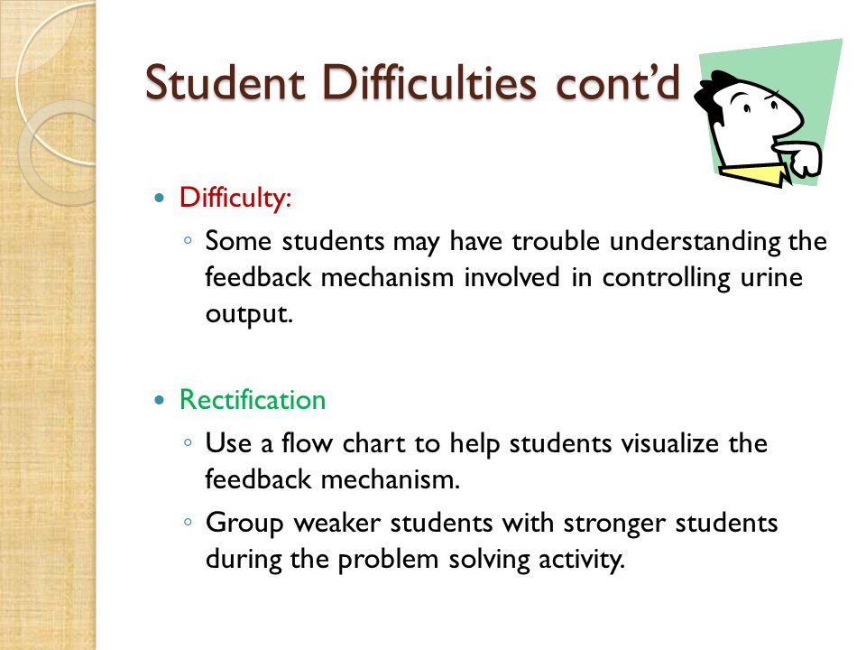 Student Difficulties cont'd