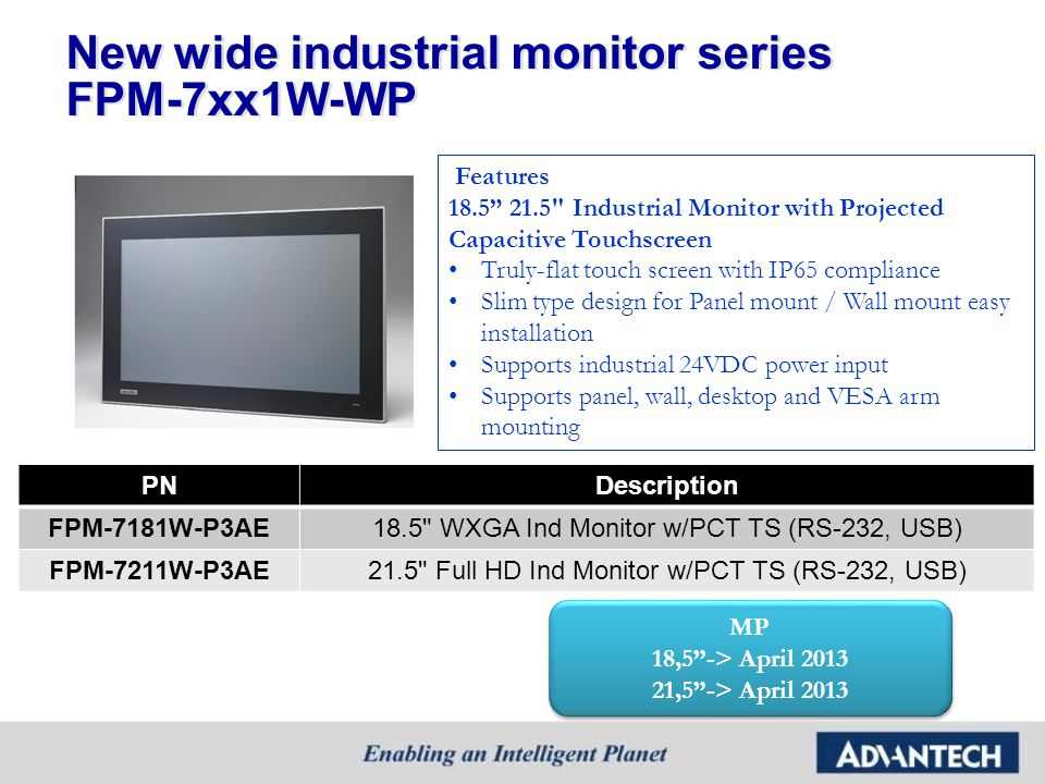 New wide industrial monitor series FPM-7xx1W-WP
