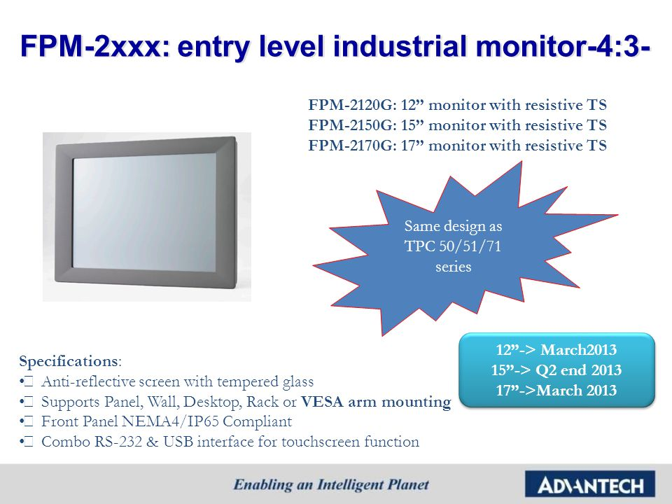 FPM-2xxx: entry level industrial monitor-4:3-