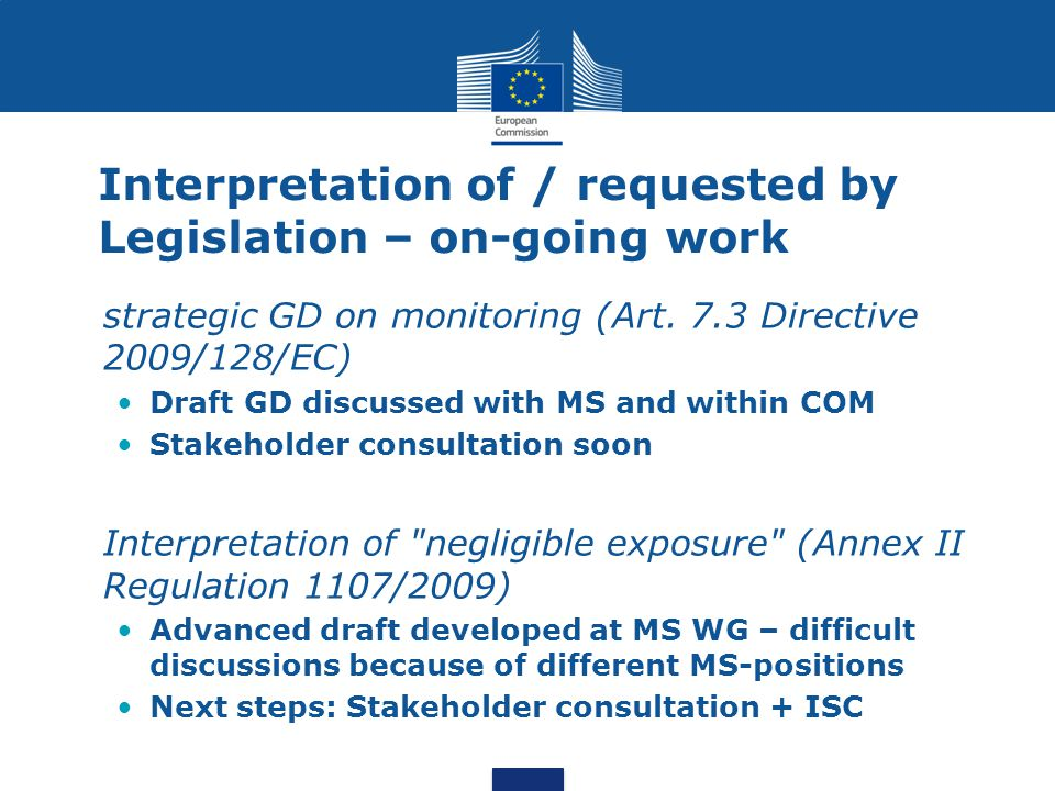 Interpretation of / requested by Legislation – on-going work