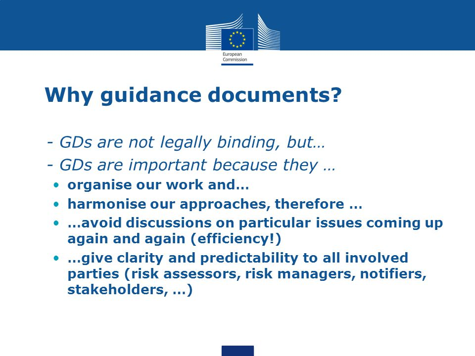 Why guidance documents