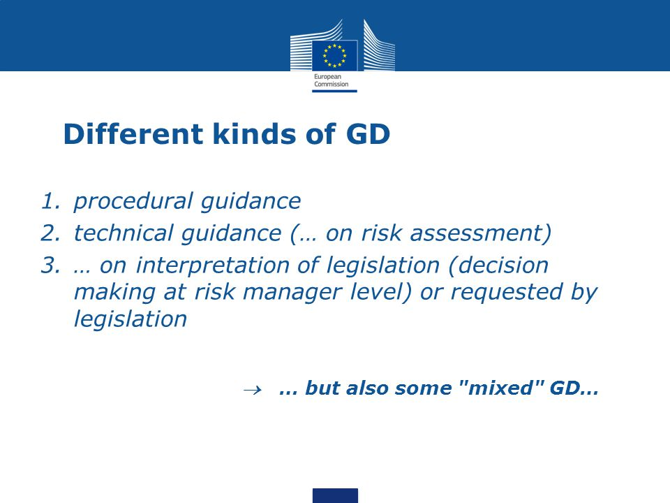 Different kinds of GD procedural guidance