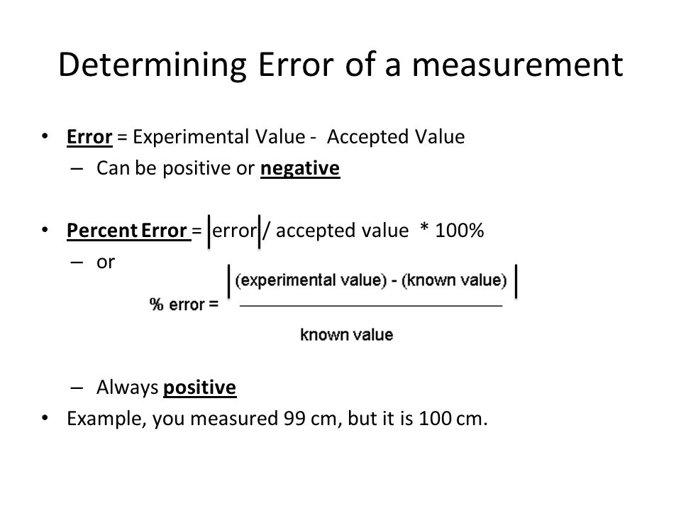 Determining Error of a measurement