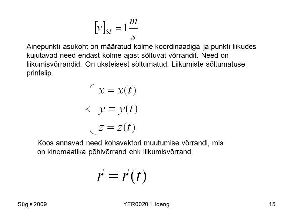 Ainepunkti asukoht on määratud kolme koordinaadiga ja punkti liikudes kujutavad need endast kolme ajast sõltuvat võrrandit. Need on liikumisvõrrandid. On üksteisest sõltumatud. Liikumiste sõltumatuse printsiip.