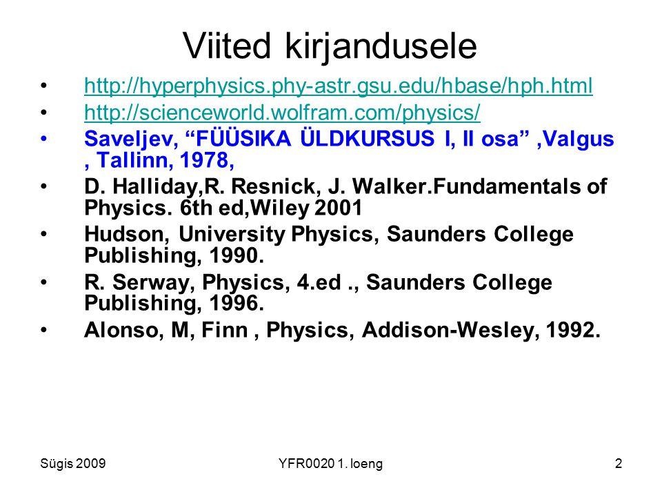 Viited kirjandusele http://hyperphysics.phy-astr.gsu.edu/hbase/hph.html. http://scienceworld.wolfram.com/physics/