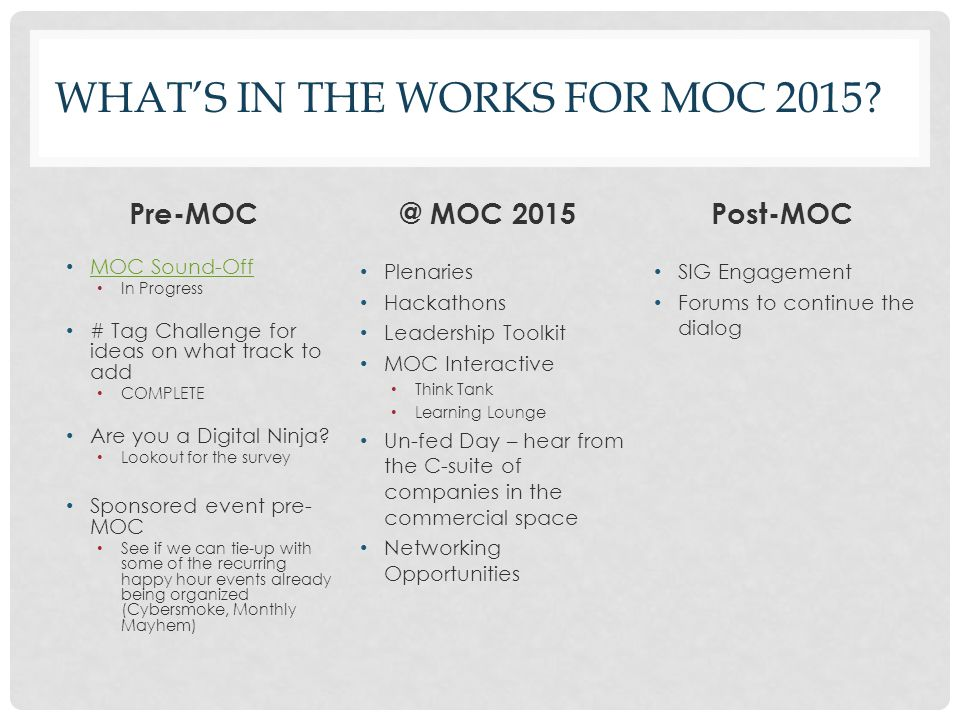 What's in the works for MOC 2015