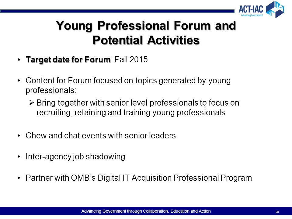 Young Professional Forum and Potential Activities