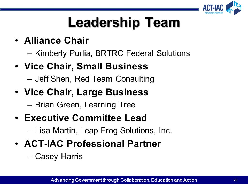 Leadership Team Alliance Chair Vice Chair, Small Business