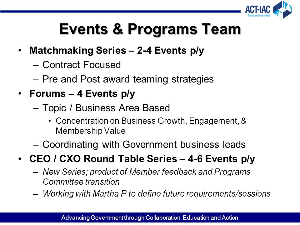 Events & Programs Team Matchmaking Series – 2-4 Events p/y