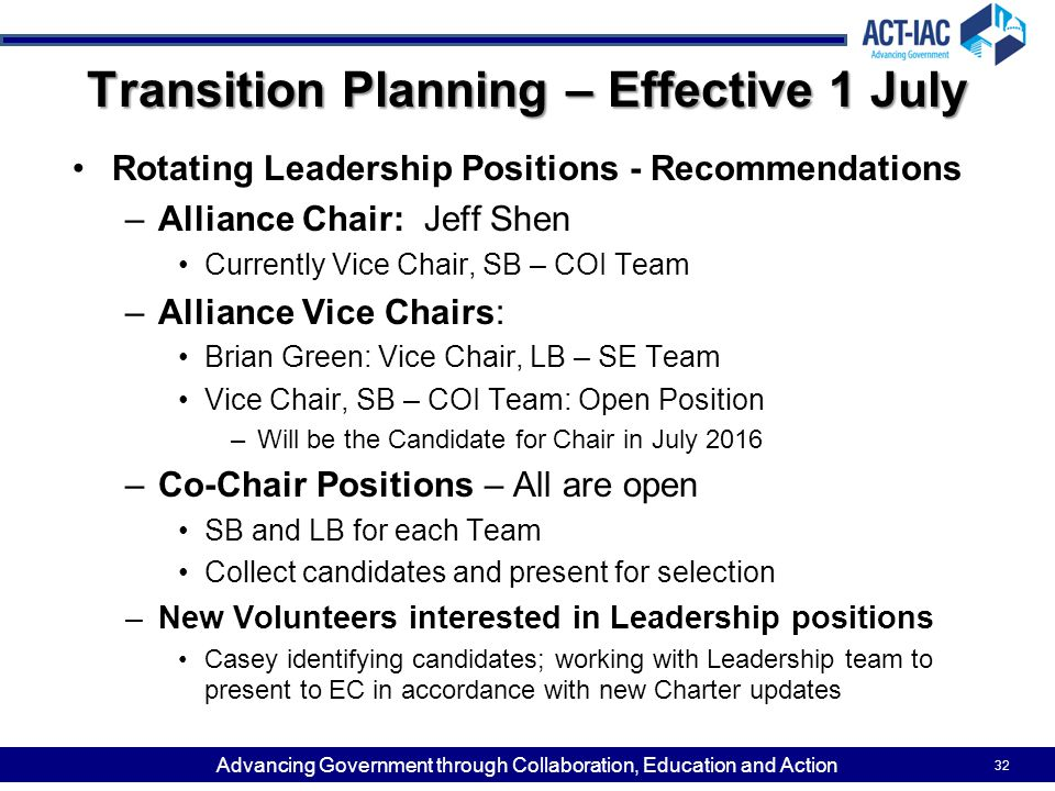Transition Planning – Effective 1 July
