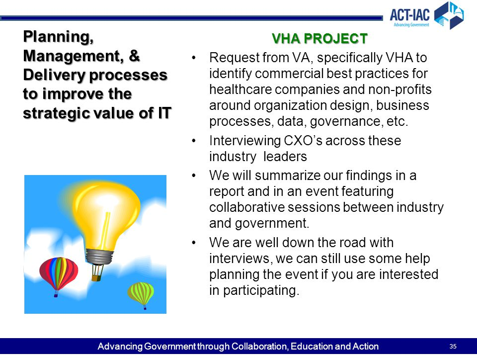 Planning, Management, & Delivery processes to improve the strategic value of IT