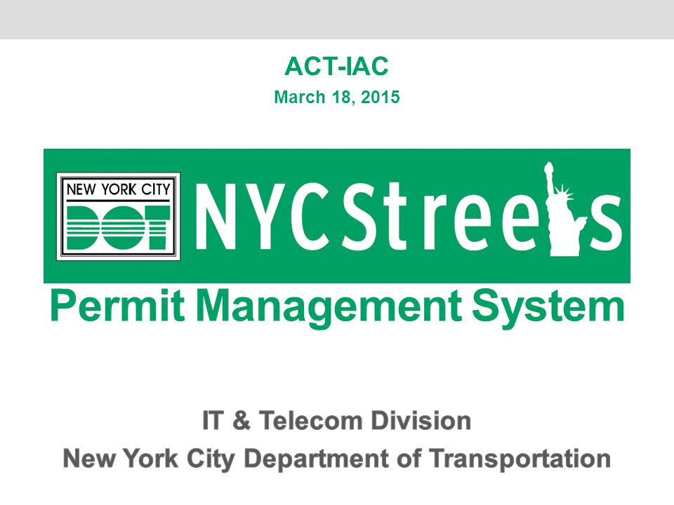 Permit Management System New York City Department of Transportation