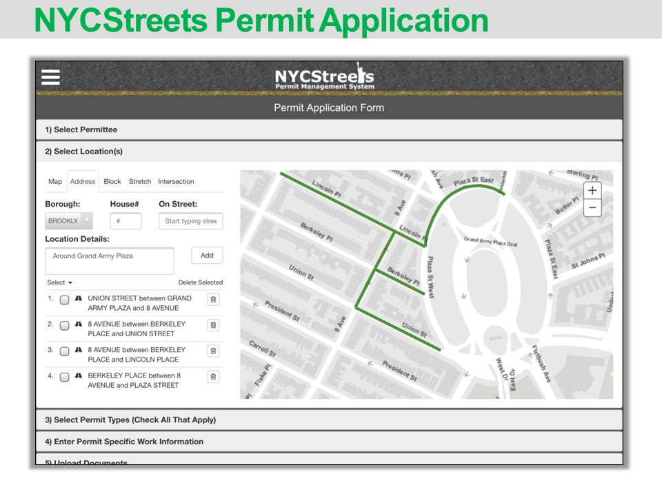 NYCStreets Permit Application
