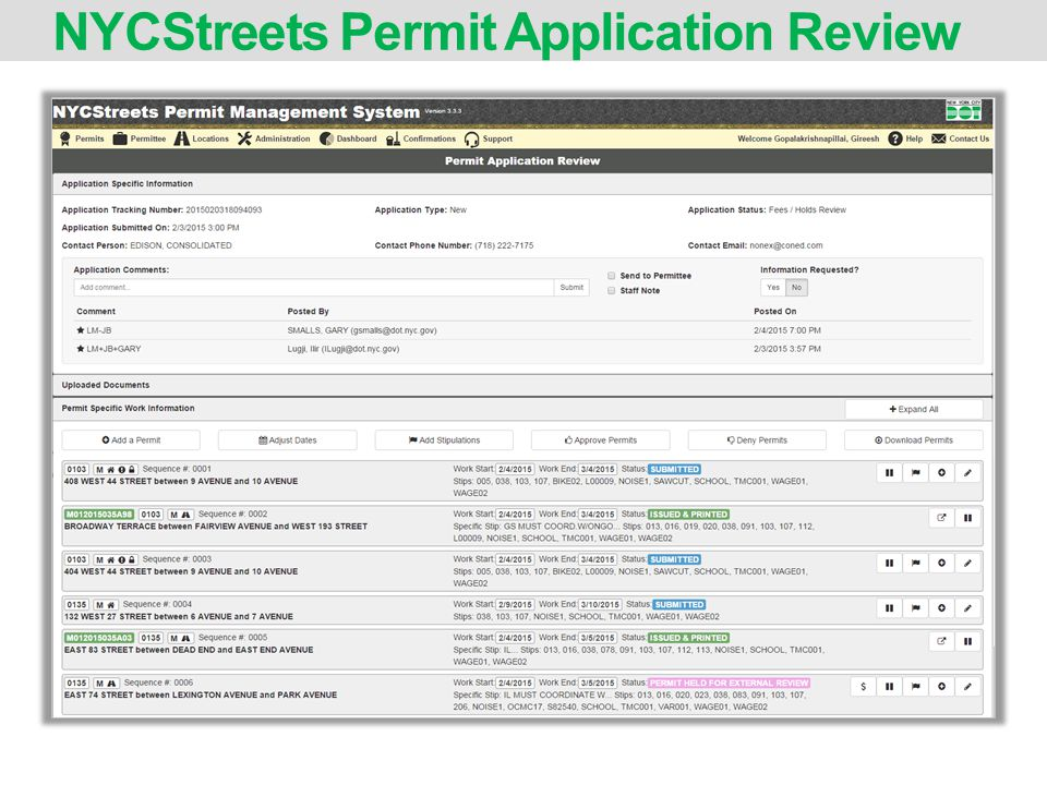 NYCStreets Permit Application Review