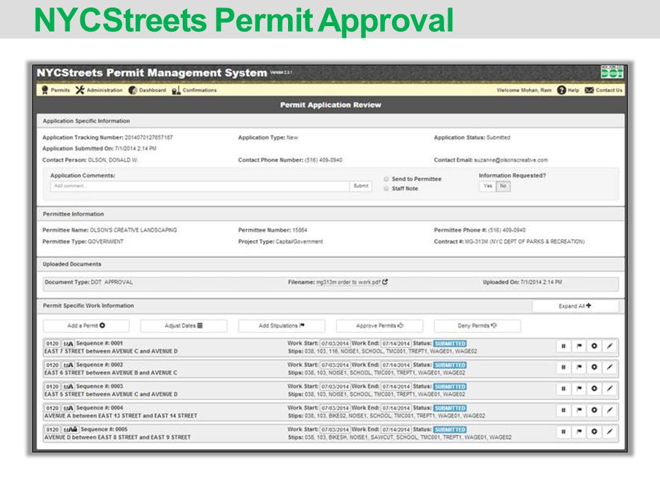 NYCStreets Permit Approval