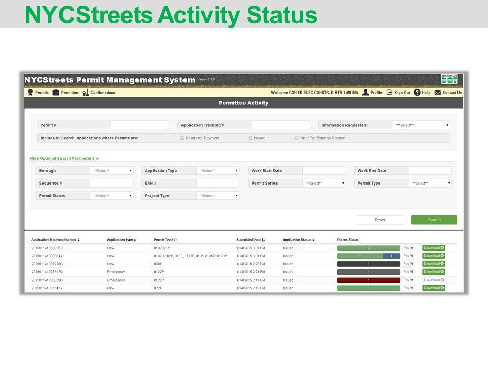NYCStreets Activity Status