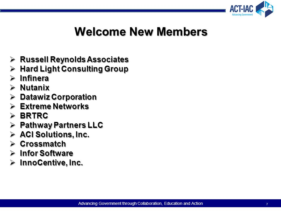 Welcome New Members Russell Reynolds Associates