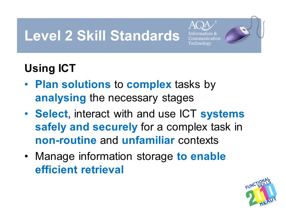 Level 2 Skill Standards Using ICT