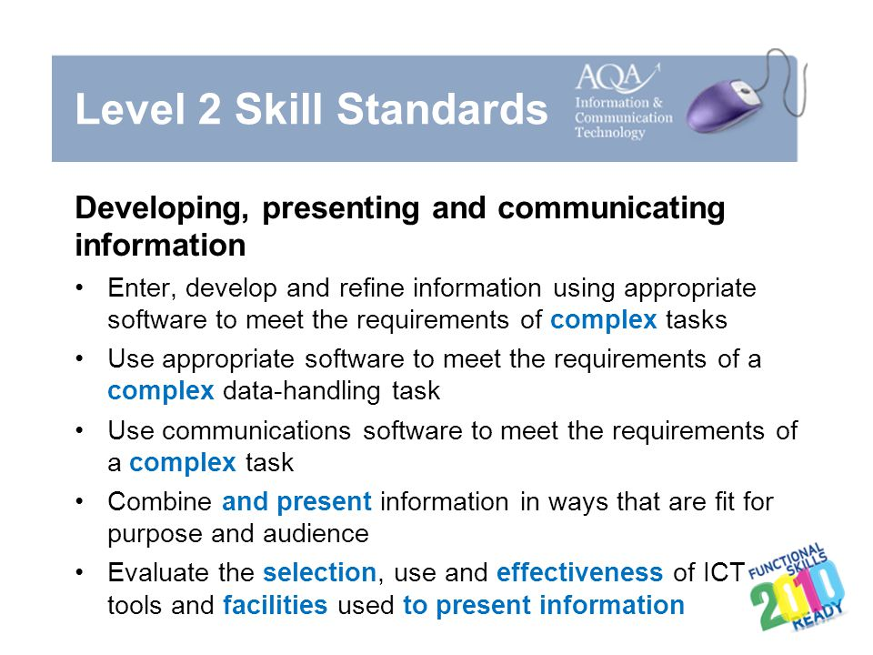 Level 2 Skill Standards Developing, presenting and communicating information.