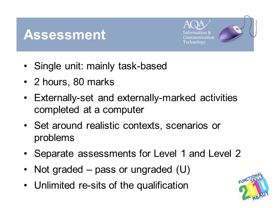 Assessment Single unit: mainly task-based 2 hours, 80 marks