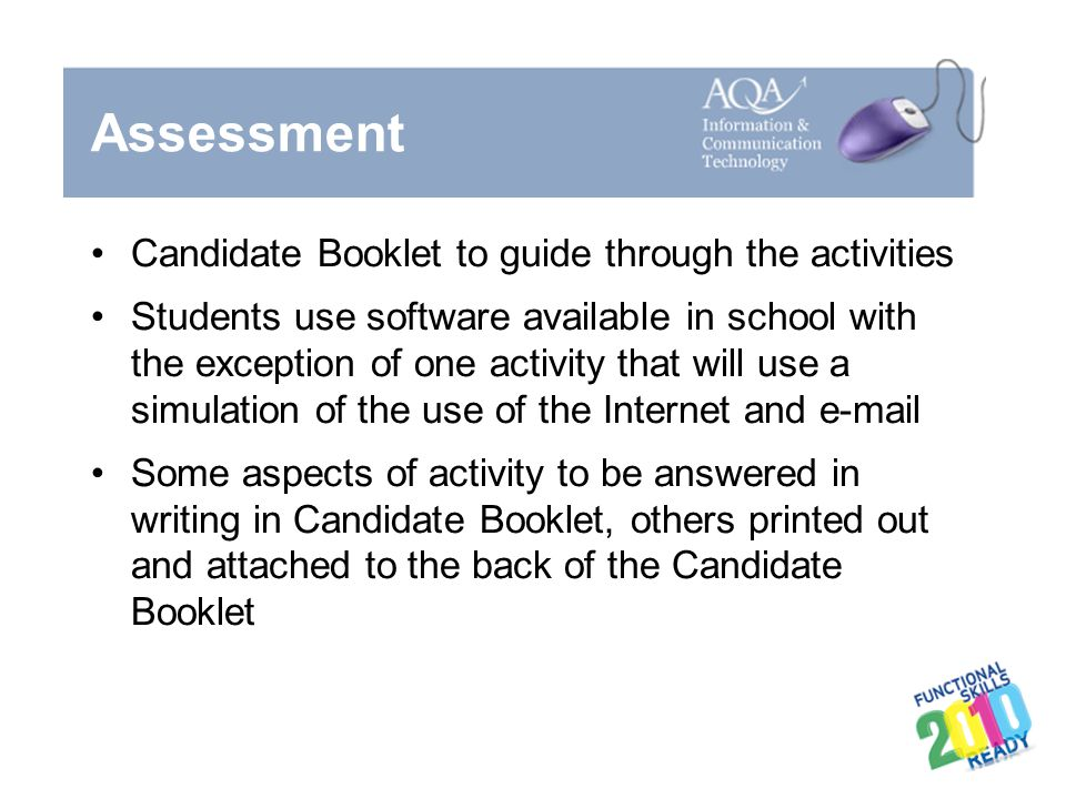 Assessment Candidate Booklet to guide through the activities