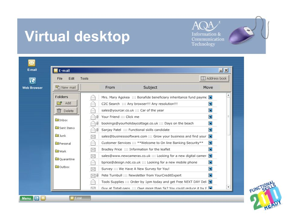 Virtual desktop Useful at this point to run the demonstration and refer to the About the examination booklet.