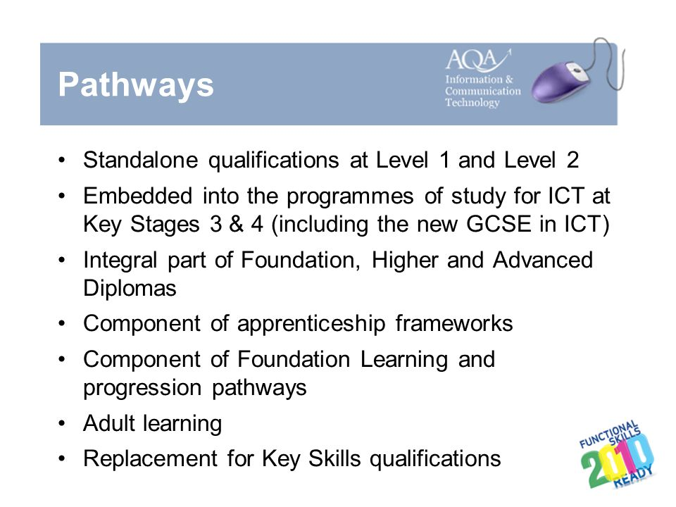 Pathways Standalone qualifications at Level 1 and Level 2