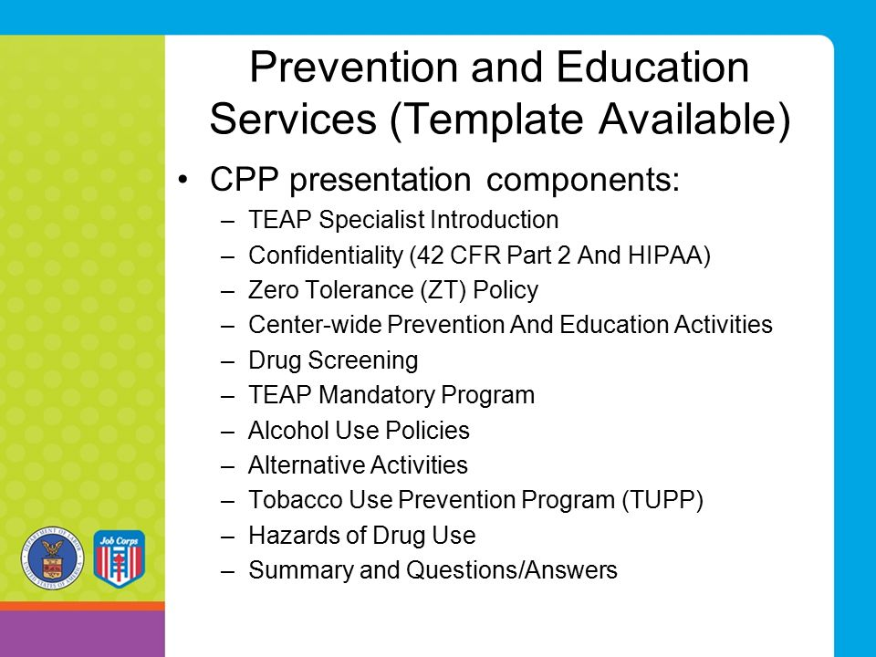 Prevention and Education Services (Template Available)
