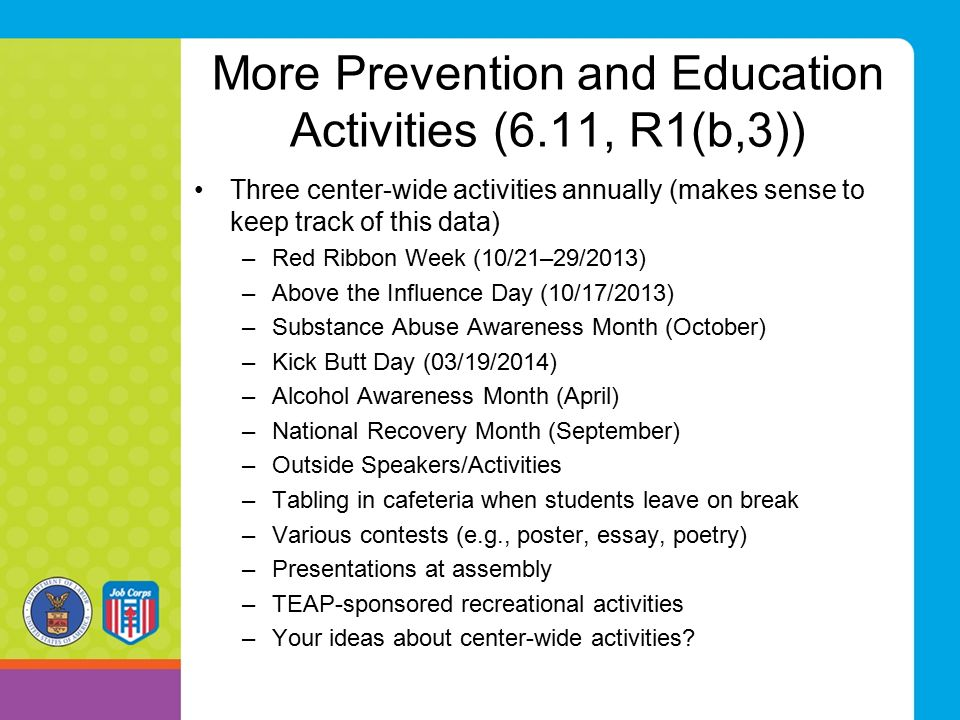 More Prevention and Education Activities (6.11, R1(b,3))