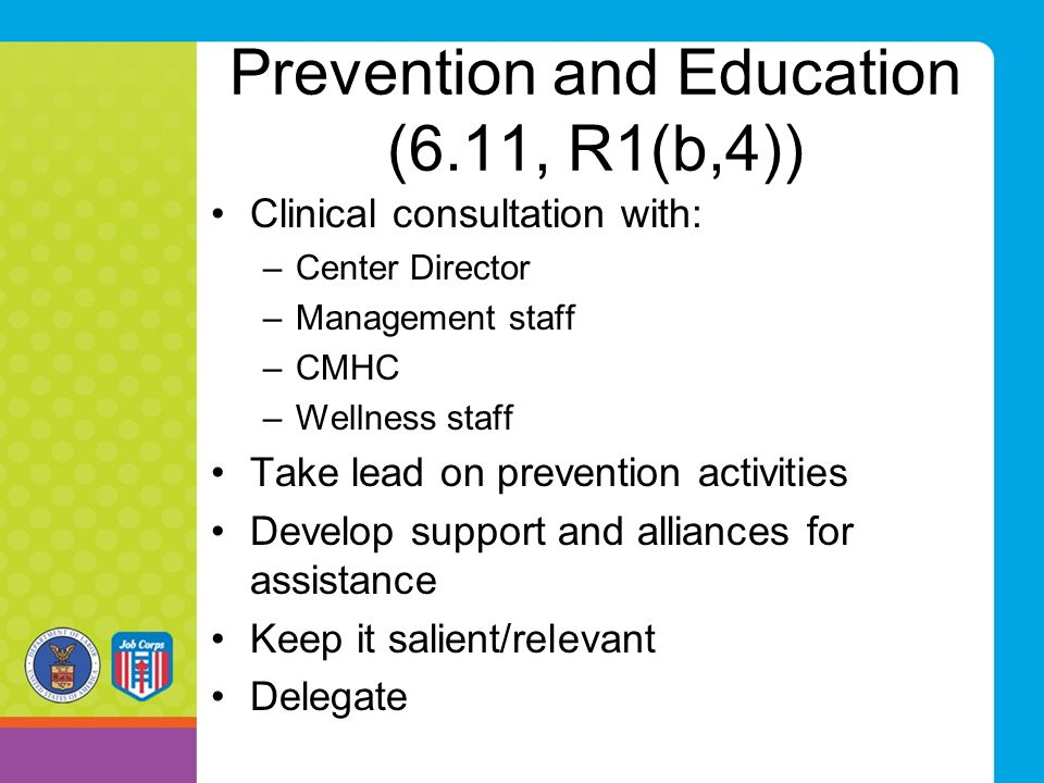 Prevention and Education (6.11, R1(b,4))