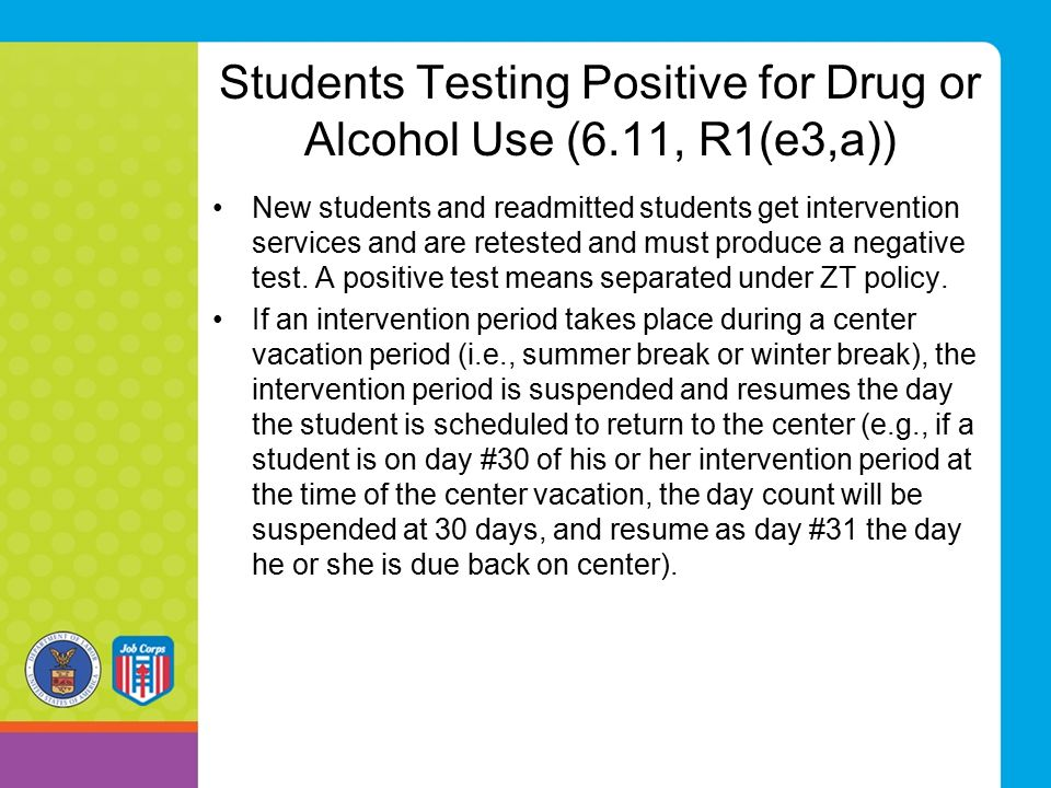 Students Testing Positive for Drug or Alcohol Use (6.11, R1(e3,a))
