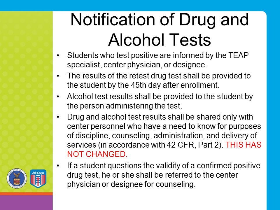 Notification of Drug and Alcohol Tests