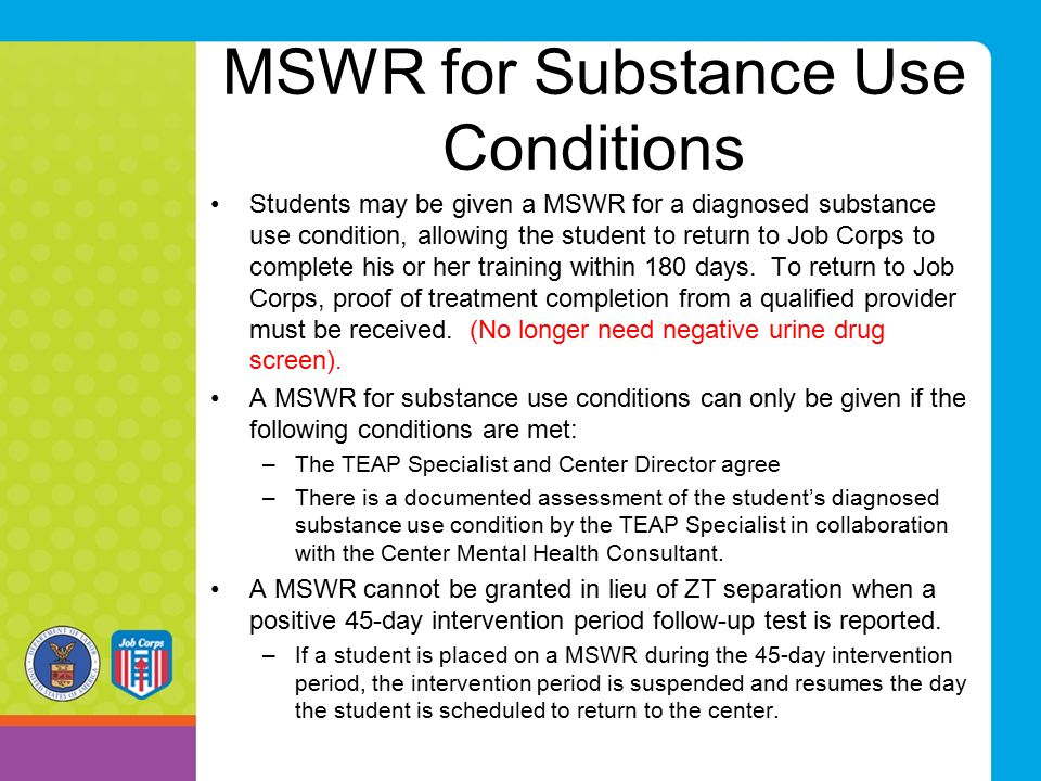 MSWR for Substance Use Conditions