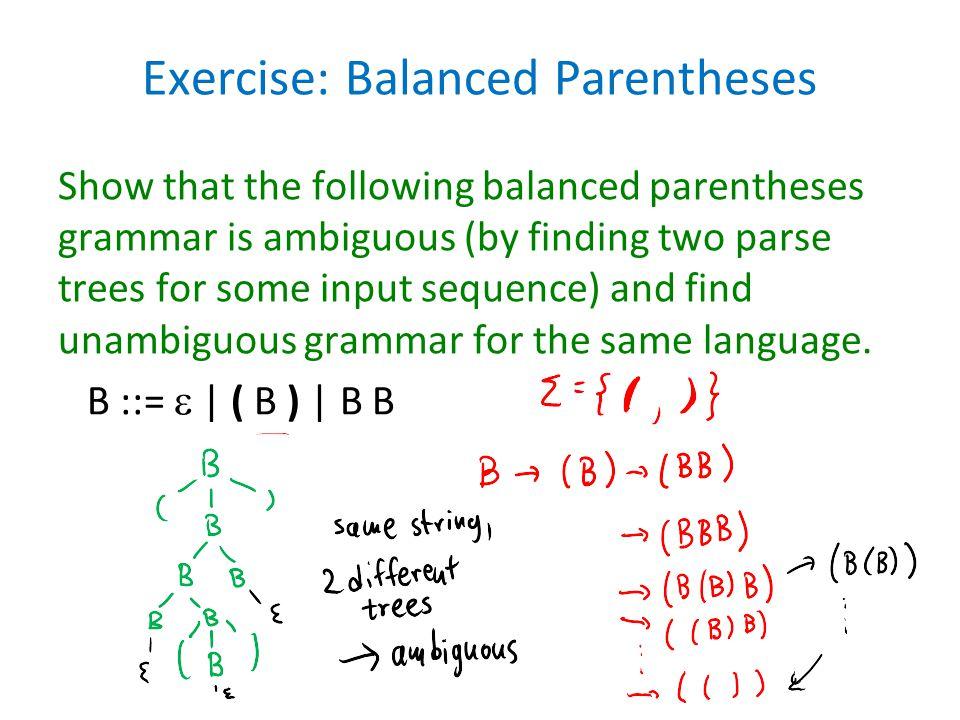 Exercise: Balanced Parentheses