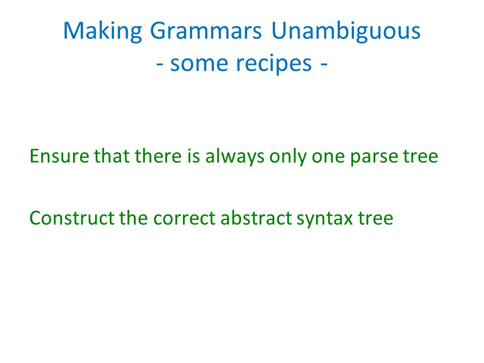 Making Grammars Unambiguous - some recipes -