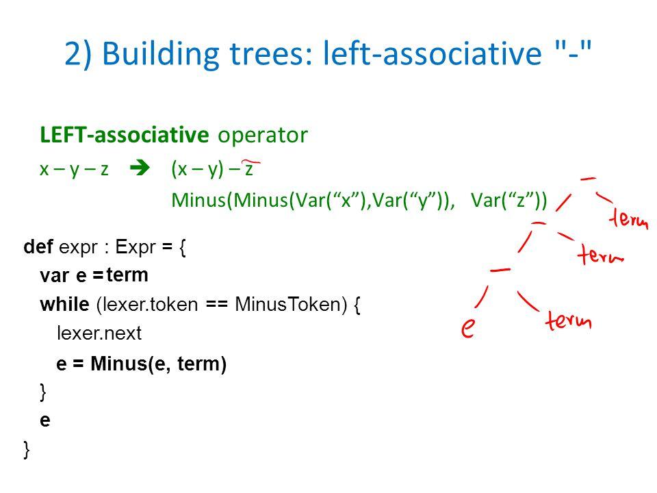 2) Building trees: left-associative -
