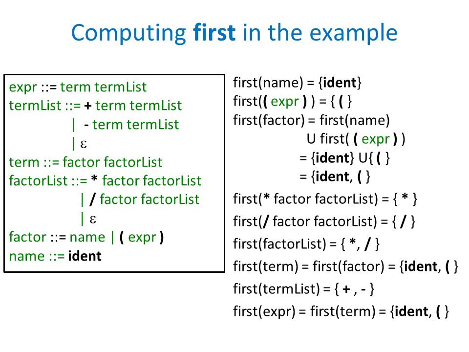 Computing first in the example