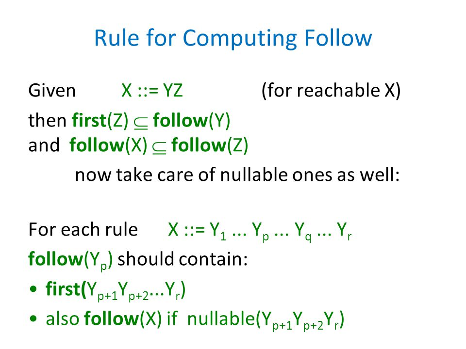 Rule for Computing Follow