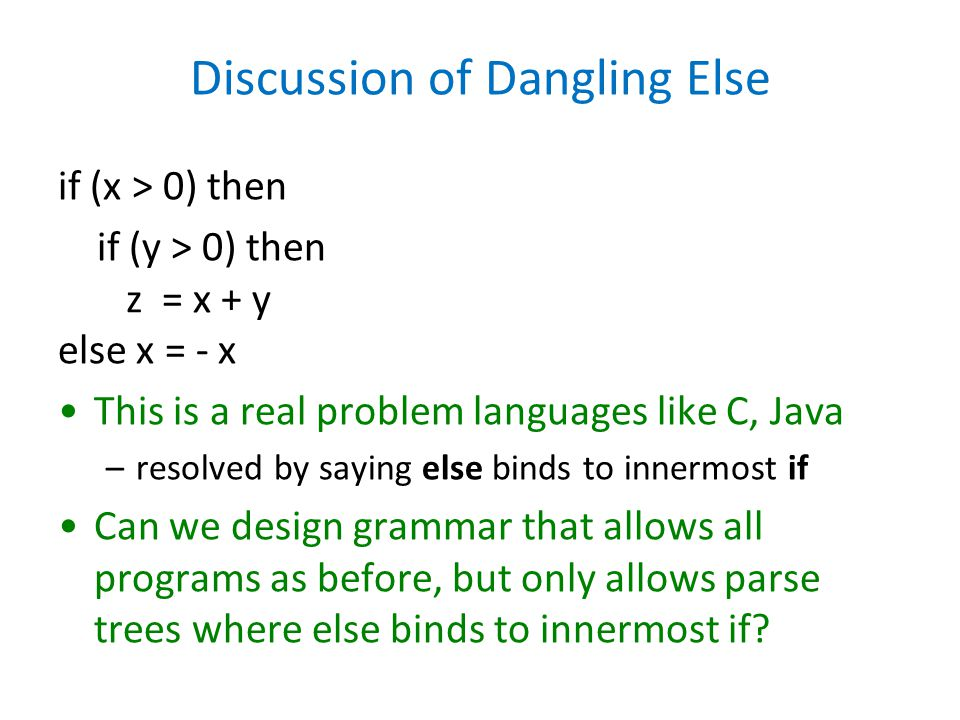 Discussion of Dangling Else